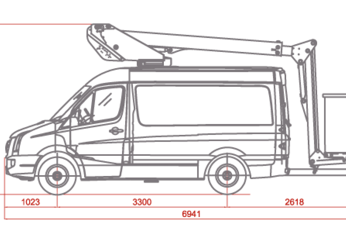 e14p insulated aerial work platform on van